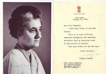 GANDHI, INDIRA. Two items: Photograph dated and Signed * Typed Letter Signed.