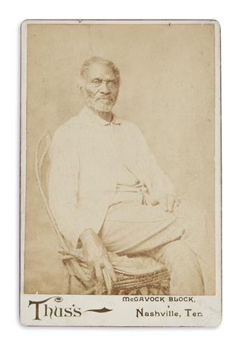 (SLAVERY AND ABOLITION.) Thuss; photographer. Cabinet card portrait of Alfred Jackson, former slave to Andrew Jackson.