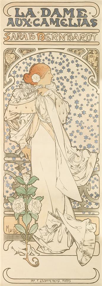 ALPHONSE MUCHA (1860-1939). LA DAME AUX CAMELIAS. 1896. 81x29 inches, 205x75 cm. F. Champenois, Paris.
