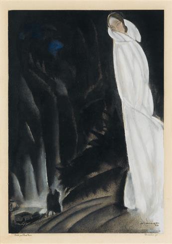 CHARLES LOUPOT (1892-1962). [ART DECO FASHION.] Two pochoir prints. Circa 1924. Each approximately 14x10 inches, 46x27 cm. Heim, Paris.