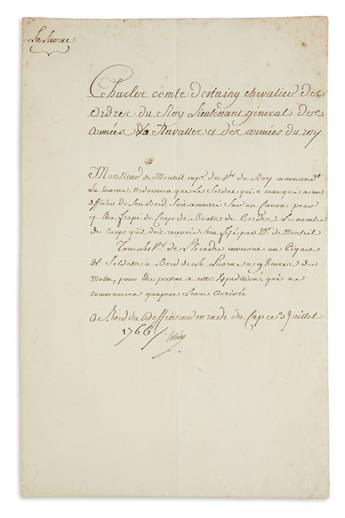 CHARLES HECTOR DESTAING. Document Signed, Estaing, ordering Lt. General of Naval Forces De Monteil to flog a soldier...