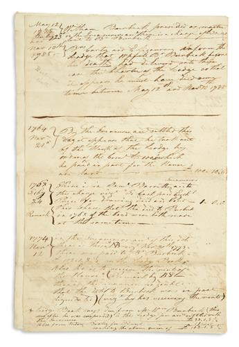 (AMERICAN REVOLUTION--PRELUDE.) Manuscript notes on St. Andrews Masonic Lodge of Boston, and its famous Green Dragon Tavern.