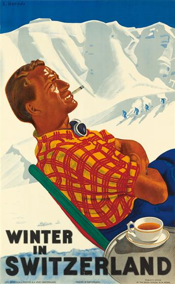 ERICH HERMES (1881-1971). WINTER IN SWITZERLAND. 1936. 39x24 inches, 100x61 cm. Sauberlin & Pfeiffer S.A., Vevey.