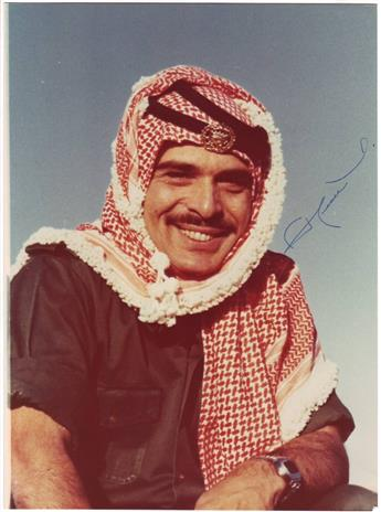 HUSSEIN; KING OF JORDAN. Color Photograph Signed, Hussein, in English,