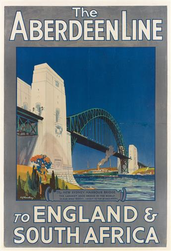 E.V. KEALEY (DATES UNKNOWN). THE ABERDEEN LINE / TO ENGLAND & SOUTH AFRICA. 1932. 36x25 inches, 91x63 cm.
