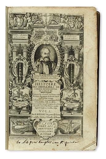BOSIO, GIACOMO. Histoire des Chevaliers de lOrdre de lHospital de S. Jean de Hierusalem.  1612