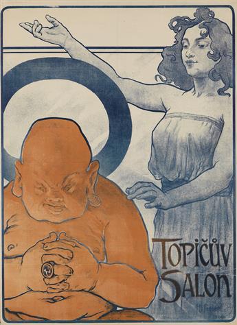 ARNOST HOFBAUER (1869-1944). TOPICUV SALON. 1898. 43x32 inches, 110x81 cm. V. Neubert, Praha-Smichov.