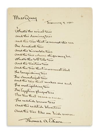 EDISON, THOMAS A. Autograph Manuscript dated and Signed, version of a popular poem written for Miss Quay beginning Whats the social