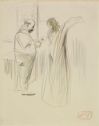 JEAN-LOUIS FORAIN (Reims 1852-1931 Paris) La Lettre.