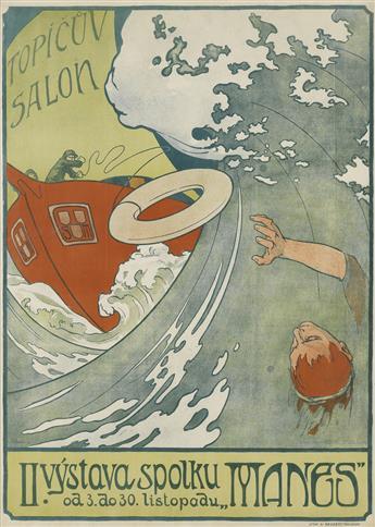 ARNOST HOFBAUER (1869-1944). II. VYSTAVA SPOLKU MANES / TOPICUV SALON. 1898. 42x30 inches, 108x76 cm. V. Neubert, Praha-Smichov.