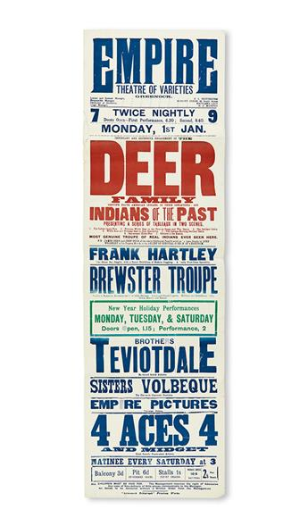 (AMERICAN INDIANS.) Poster for a performance in Scotland by the Deer Family . . . in their Sensational Act, Indians of the Past.
