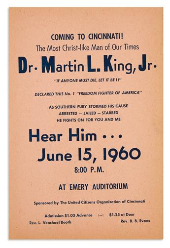 (KING, MARTIN LUTHER.) Coming to Cincinnati! The Most Christ-Like Man of Our Times, Dr. Martin L. King, Jr.