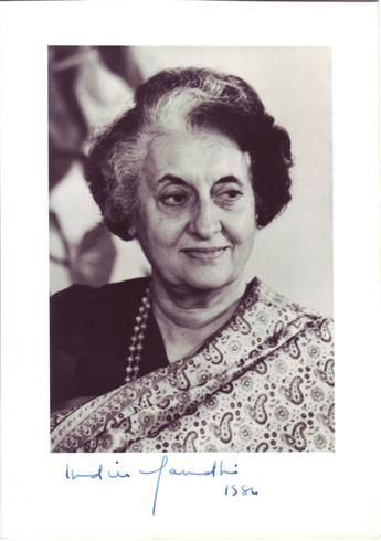 GANDHI, INDIRA. Photograph dated and Signed,