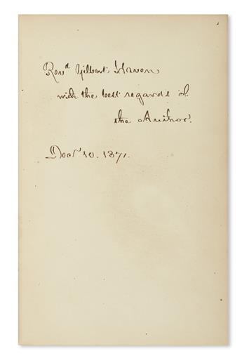 LONGFELLOW, HENRY WADSWORTH. Divine Tragedy. Autograph inscription, on a front blank: