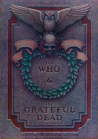 PHILLIP GARRIS (1951- ). THE WHO & THE GRATEFUL DEAD. 1976. 28x20 inches, 71x50 cm. Tea Lautrec Litho, San Francisco.