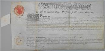 MIFFLIN, THOMAS. Partly-printed vellum Document Signed, ThoMifflin, as Governor, land deed granting 433 acres in Frankstown Township,