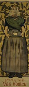 ADOLPH A. WILLETTE (1857-1926) CACAO VAN HOUTEN. 1893. 76 x 26 inches. Belfond & Co., Paris.