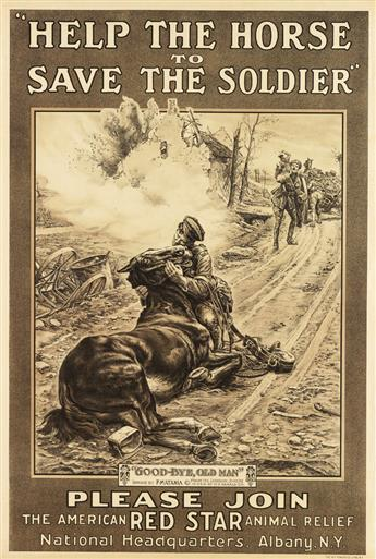 FORTUNINO MATANIA (1881-1963). HELP THE HORSE TO SAVE THE SOLDIER. Circa 1917. 30x20 inches, 76x52 cm. W.F. Powers, New York.