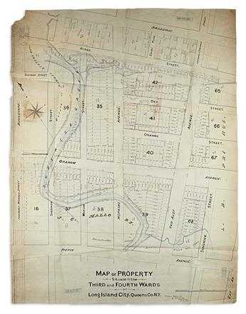 (NEW YORK CITY -- QUEENS.) 3 nineteenth-century manuscript survey maps.