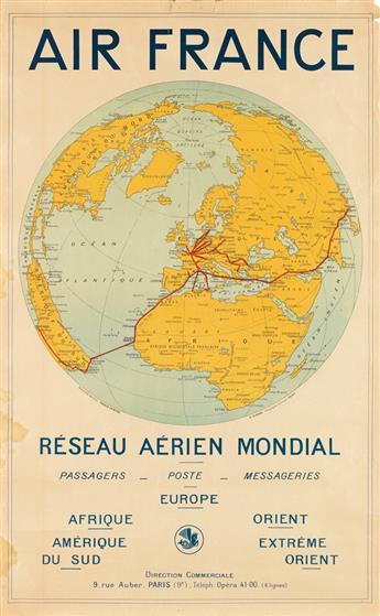 DESIGNER UNKNOWN. AIR FRANCE / RÉSEAU AÉRIEN MONDIAL. Circa 1930s. 39x24 inches, 99x61 cm. E. Girard, Paris.