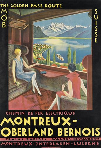 DESIGNER UNKNOWN. THE GOLDEN PASS ROUTE / MONTREUX - OBERLAND BERNOIS. 1921. 39x26 inches, 99x68 cm. Brugger Ltd., Meiringen.
