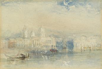 JOSEPH M. W. TURNER (CIRCLE OF) (London 1775-1851 London) A View of Greenwich from the Thames.