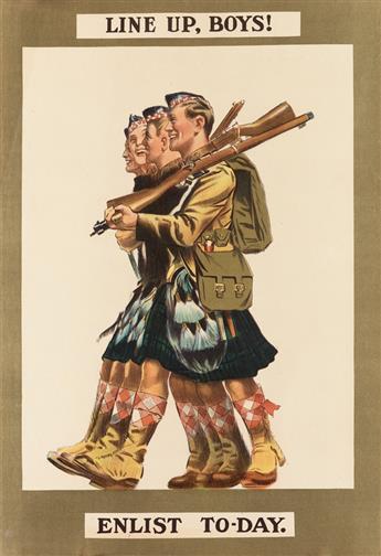 DESIGNER UNKNOWN. LINE UP, BOYS! / ENLIST TO - DAY. 1915. 27x18 inches, 69x47 cm. [E.&S. Ltd., London]