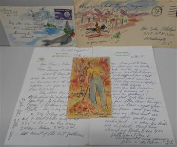 PEIRCE, WALDO. Group of 5 items: three ink and watercolor drawings Signed, Waldo or WPeirce * two Autograph Letters Signed, the Pe
