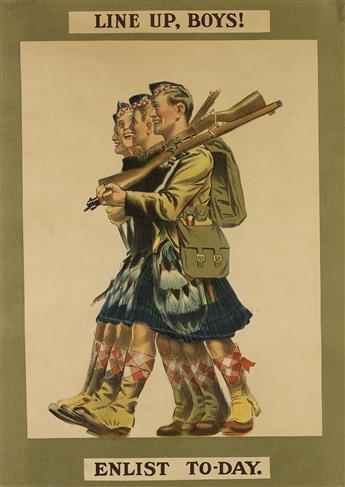DESIGNER UNKNOWN. LINE UP, BOYS! ENLIST TO - DAY. 1915. 27x18 inches, 69x47 cm. [E. & S. Ltd., London.]