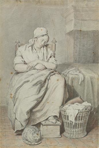DUTCH SCHOOL, 18TH CENTURY A Seated Maid Asleep in an Interior with a Cat.