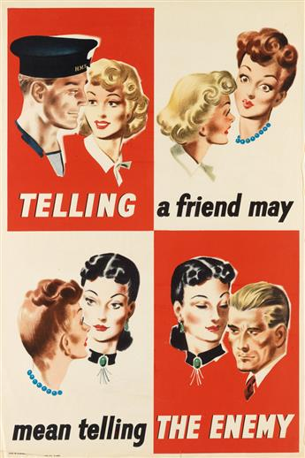 VARIOUS ARTISTS. [WORLD WAR II / ENGLAND.] Group of 3 posters. Circa 1940s. Sizes vary.
