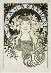 ALPHONSE MUCHA (1860-1939) SARAH BERNHARDT / [LA PLUME.] 1896. 25x18inches.