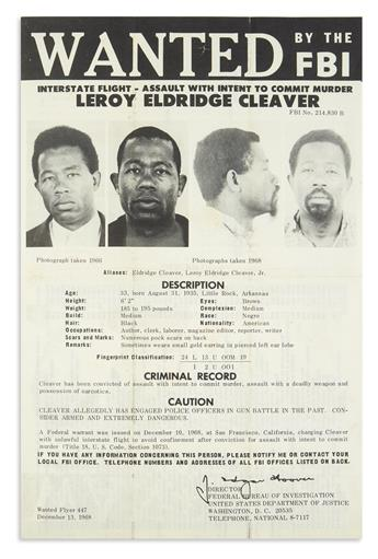(CRIME.) Wanted by the FBI: Interstate Flight, Assault with Intent to Commit Murder--Leroy Eldridge Cleaver.