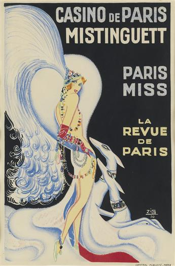 ZIG (LOUIS GAUDIN, 1882-1936). CASINO DE PARIS / MISTINGUETT. 1930. 23x15 inches, 58x38 cm. Central Publicité, Paris.