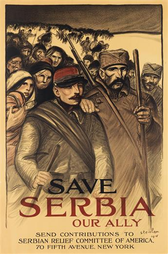 THÉOPHILE-ALEXANDRE STEINLEN (1859-1923). SAVE SERBIA / OUR ALLY. 1916. 36x24 inches, 91x61 cm.