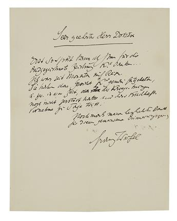 WERFEL, FRANZ. Autograph Letter Signed, to an unnamed recipient (Very esteemed Doctor), in German,
