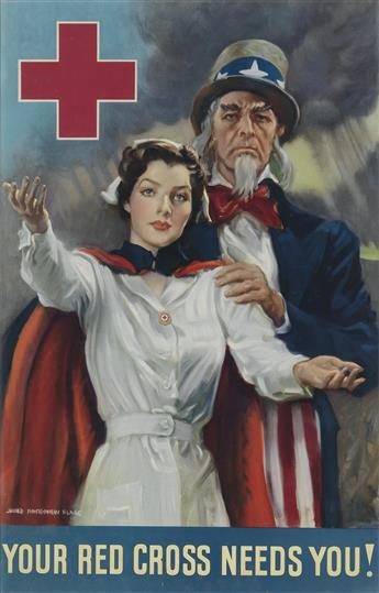 JAMES MONTGOMERY FLAGG (1870-1960). YOUR RED CROSS NEEDS YOU! 1942. 19x12 inches, 49x31 cm.