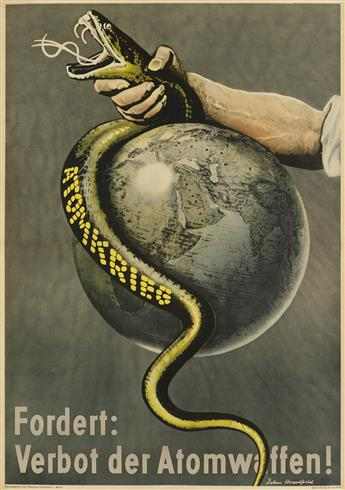 JOHN HEARTFIELD (1891-1968). ATOMKRIEG / FORDERT: VERBOT DER ATOMWAFFEN! 1955. 32x23 inches, 83x58 cm. [German Peace Council,] Berlin.