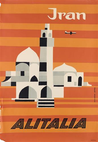 ENNIO MOLINARI (DATES UNKNOWN). IRAN / ALITALIA. Circa 1955. 38x27 inches, 98x68 cm. Bodoniana, Bologna.