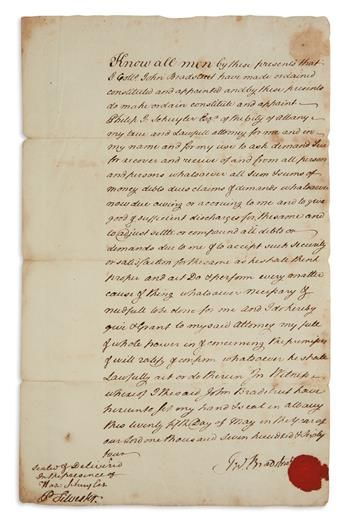 JOHN BRADSTREET. Document Signed, JnoBradstreet, granting power of attorney to Philip John Schuyler for the pu...