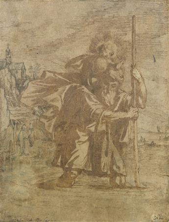 BOLOGNESE SCHOOL, 17TH CENTURY Saint Christopher Carrying the Christ Child.