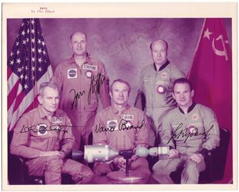 (ASTRONAUTS--APOLLO-SOYUZ.) Color Photograph Signed, by each crew member of the Apollo-Soyuz Test Project,