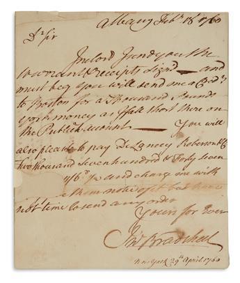 JOHN BRADSTREET. Autograph Letter Signed, JnoBradstreet, to an unnamed recipient (DrSir), sending signed war...