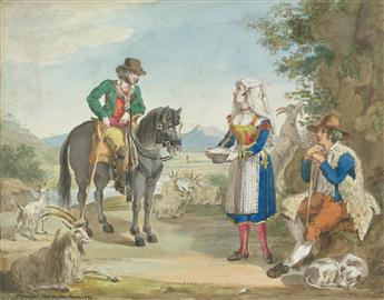 BARTOLOMEO PINELLI (CIRCLE OF) (Rome 1771-1835 Rome) Two watercolors.
