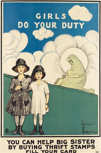 HARRY JAMES WESTERMAN (1876-1945). GIRLS DO YOUR DUTY / YOU CAN HELP BIG SISTER BY BUYING THRIFT STAMPS. 27x18 inches, 69x46 cm. Allied