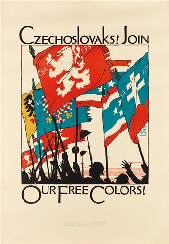 VOJTECH PREISSIG (1873-1944). CZECHOSLOVAKS! JOIN OUR FREE COLORS! 1918. 35x25 inches, 90x63 cm. Wentworth Institute, Boston.