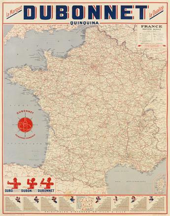 DAPRÈS ADOLPHE MOURON CASSANDRE (1901-1968). DUBONNET QUINQUINA. Map. 1952. 33x26 inches, 85x68 cm.