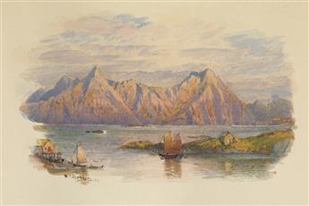 WILLIAM TROST RICHARDS Two landscape watercolors.