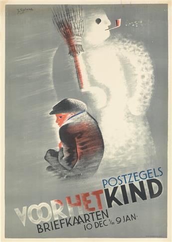 JOHAN S. (JOOP) SJOLLEMA (1900-1990). POSTZEGELS VOOR HET KIND. Circa 1936. 39x27 inches, 99x70 cm. Senefelder, Amsterdam.