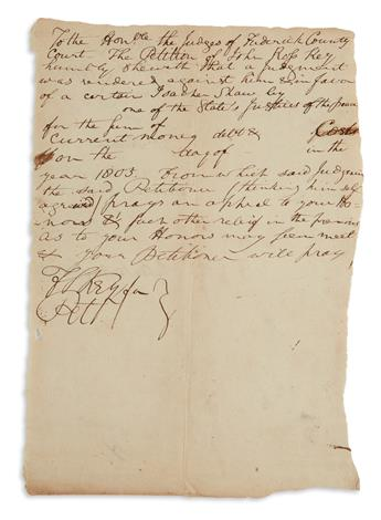 FRANCIS SCOTT KEY. Autograph Document Signed, FSKey twice, appealing on behalf of his father for relief from a judgmen...
